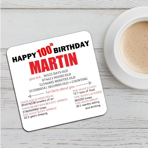 Personalised Happy 100th Birthday Drinks Coaster N56 Any Name
